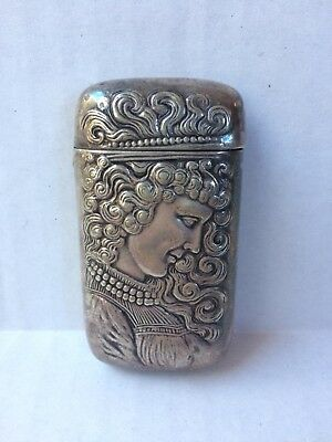 Antique Meriden Britannia Match Safe Vesta Case Silver Woman Profile Art Nouveau