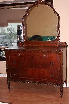 Large 4 drawer ANTIQUE Wood DRESSER Curved MIRROR Burl Dovetail Early 1900s