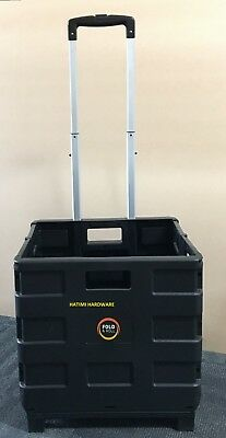 Folding Shopping Cart Trolley Black Crate Folds Flat Easy Use /storage Foldable