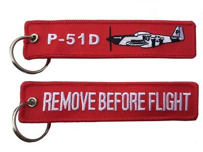 P-51D Mustang Remove Before Flight Key Ring Luggage Tag