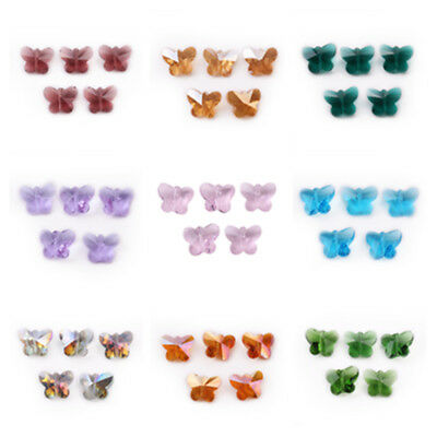 10/30Pcs Bulk 14mm Faceted Crystal Glass Butterfly Loose Beads Jewelry Makings