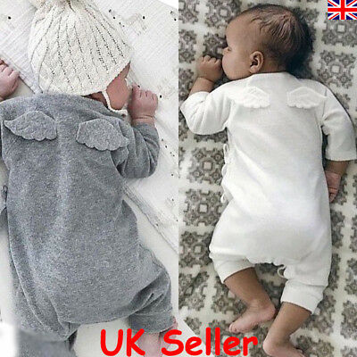 UK Newborn Baby Boys Girls Romper Bodysuit Jumpsuit Angel Wings Outfits Clothes