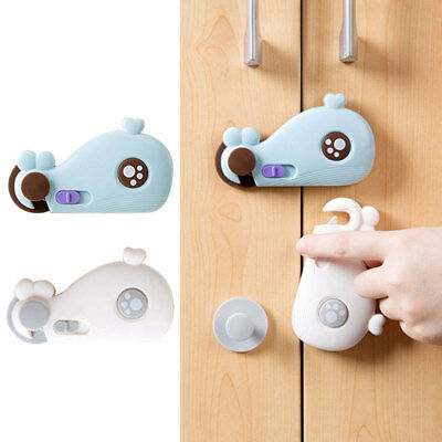 Cupboard Lock Whale Shape Infants Children Hand Protection Home Safety Grey/Blue