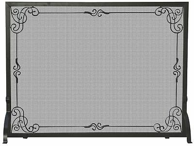 UniFlame Single Panel Black Wrought Iron Screen with Decorative Scroll New