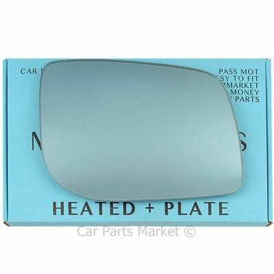 Right Blue Convex Wing mirror glass for  Range rover P38 95-02 heated + plate