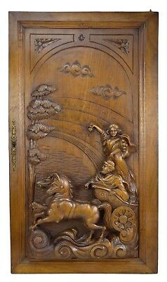 French Antique Large Hand Carved Walnut Wood Door Panel Antiquity Arena Chariot