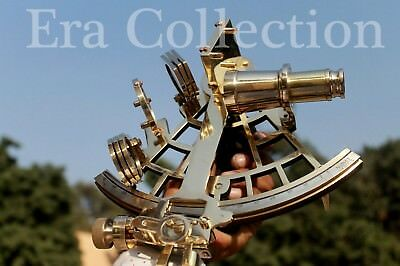 Solid Brass Sextant Nautical Marine Instrument Astrolabe Ships Maritime Gift 9""