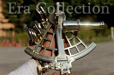 Solid Brass 9 Inches Sextant Nautical Marine Instrument Astrolabe Ships Maritime