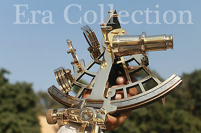 """Solid Brass Sextant Nautical 9"""" Marine Instrument Astrolabe Ships Maritime Gift"""