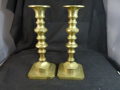 pair of vintage solid brass candle sticks