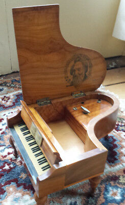 WOOD GRAND PIANO BRAHMS MUSIC BOX WORKING Made in Spain Thorens Brahms lullaby