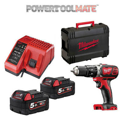 Milwaukee M18BPD-502C 18V compact combi hammer drill 2 X 5Ah batteries charger