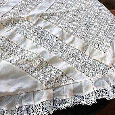 Antique Pillow Cover Organdy Cotton 1900s French Insertion Lace Trim Sham Case