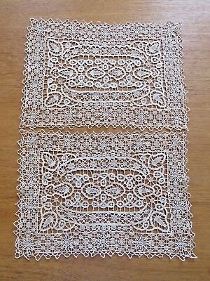 Antique Vintage Lace Placemats Ecru Reticella Needlelace Table Tray Dresser Mats