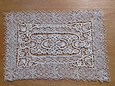 Antique Vintage Lace Placemat Ecru Reticella Needlelace Table Tray Dresser Mat