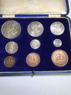 1951 South African Proof Set 9 Coins Silver /Bronze