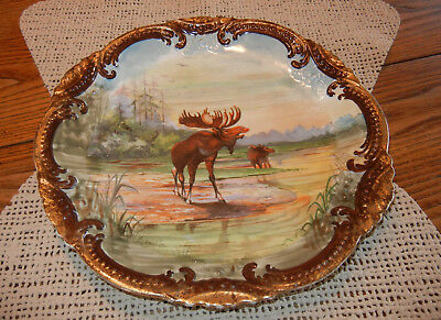 Outstanding Victorian 1880'S HAND PAINTED Moose Pair PORCELAIN Artist Signed