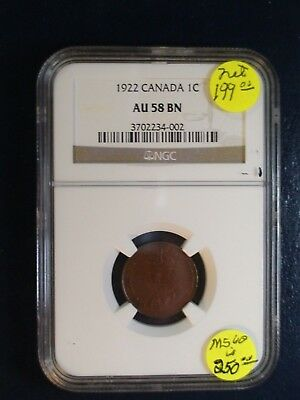 1922 Canada Small Cent NGC AU58 BN BETTER DATE 1C Coin PRICED TO SELL NOW!