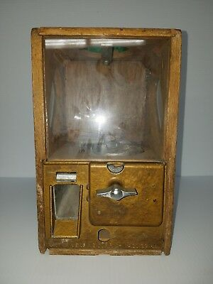 Vintage Victor Gumball Machine Wood Case. Working