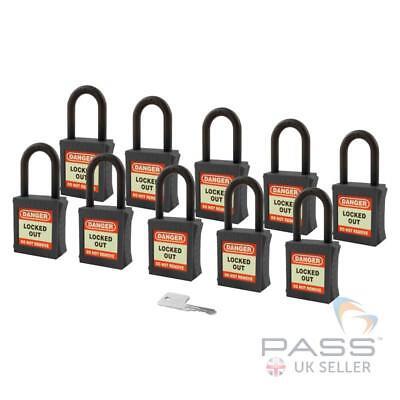 Lockout Insulated Padlock - NYLON Shackle - Key Alike (Black Pack of 10)