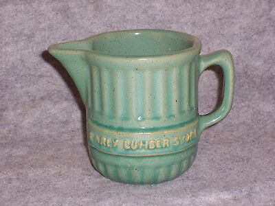 Vtg EARLY LUMBER STORE Advertising Stoneware Pitcher, Iowa Pottery Antique Crock