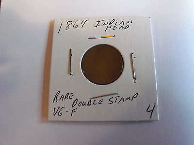 VERY RARE DATE 1864 DOUBLE STAMP INDIAN HEAD PENNY (Please see pics)