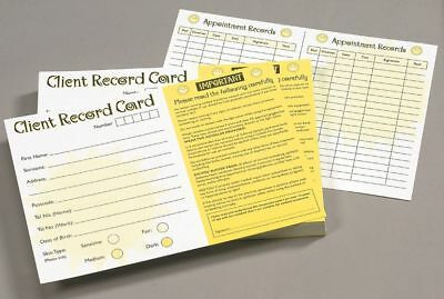 100 pack Client customer record Cards for Sunbed Tanning Salons gyms 18+