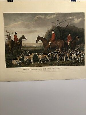 Memorial Picture Of The York  and Ainsty Hunt Engraving Hand Colored