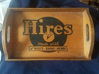 Hires Root Beer Rare Vintage Wood Tray - In Excellent Condition