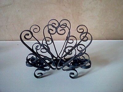 Vintage Wrought Iron Napkin Holder Scrolled Ornate