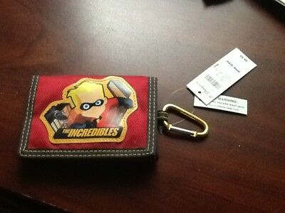 Disney Store The Incredibles Children boy's Tri Fold Wallet Red w carabiner