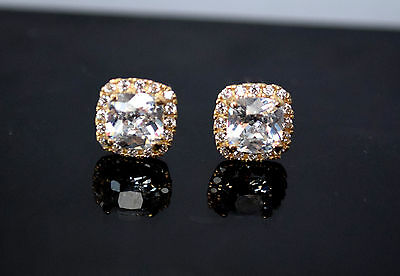 14K Solid Yellow Gold Created Diamond White Cushion Cut Halo Stud Earrings 1.5CT