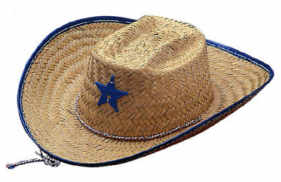 Natural Straw Sheriff Hat Red Cowboy Child Western Wild West Costume  Accessory 5c665be5db69