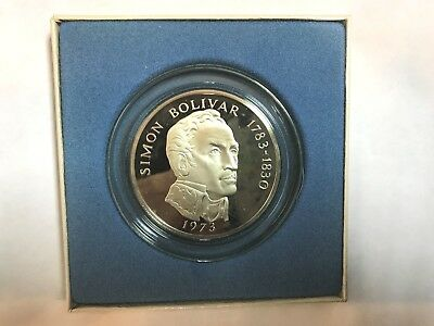 1973 Sterling Silver  20 Balboas Panama With Box And Papers