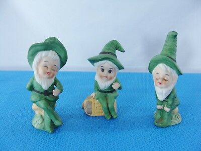 Set of 3 Vintage Porcelain Leprechaun Gnome Figurines St Patrick's Day