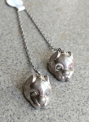 Antique Pair  Sterling Silver Baby Bib Clips 3d Wells Cat Faces hallmarked