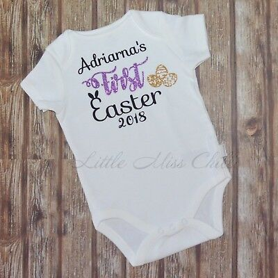 1st First Easter Personalised bodysuit outfit set romper my girls boys custom
