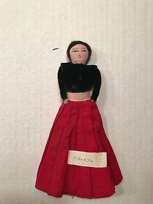 Vintage Navajo Hand Made Native American Indian Doll 8""