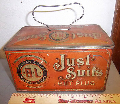 VINTAGE Just Suits lunch pail style tobacco tin, great colors & graphics, nice