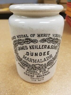 """James Keiller & Sons Dundee Marmalade Crock 5"""" Great Britain Great Condition!"""