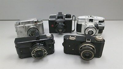 Lot of 5 Vintage Cameras for PARTS/REPAIR/DISPLAY-Ansco, Falcon, Cinex++