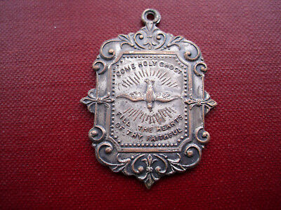 Rare Antique IMMACULATE SPOUSE of THE HOLY GHOST Medal HOLY SPIRIT ORNATE  Vtg.