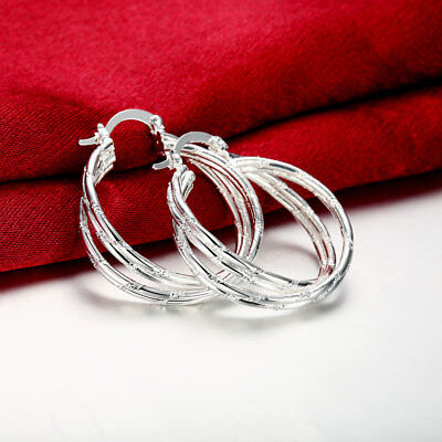 Womens 925 Sterling Silver 34mm Round Vogue Hoop Earrings #E146