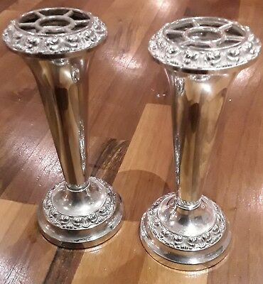 Pair of Early 20th Century Silver Plate Epergne Vases