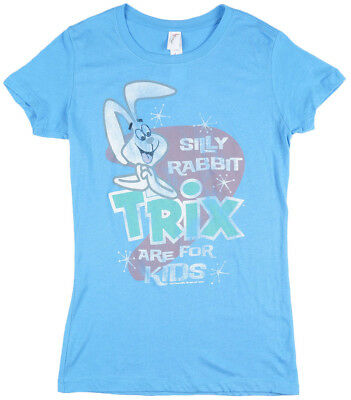 Trix Silly Rabbit T-Shirt Womens Vintage Top Blue Petite Juniors Fit