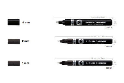 Molotow 1mm 2mm 4mm Liquid Chrome Pump Marker Pen - 1 of each Size