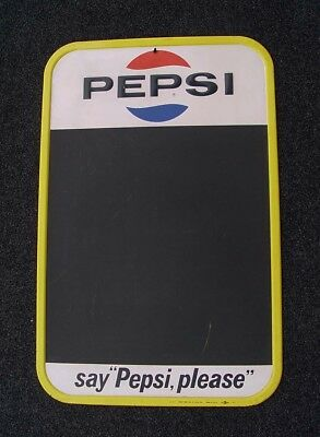 Classic Vintage Old Original 1967 Pepsi Cola Tin Advertising Sign Black Board
