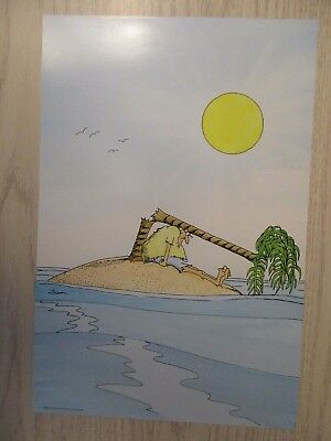 """The FAR SIDE 1991 RARE Poster """"ONLY TREE FALLS ON GUY""""S HEAD""""  9"""" X 13 1/2"""" NEW"""