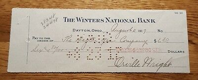 1917 Orville Wright Signed Autographed Bank Check - Aviation #1