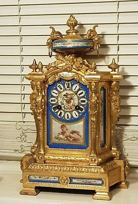 Stunning antique French Japy Freres 19th c gilt & Sevres porcelain mantle clock